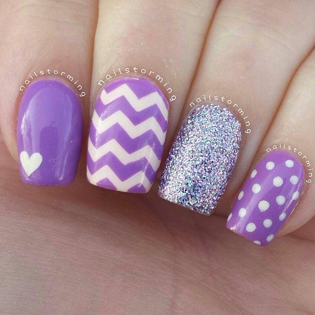 #Purple zigzag dots heart glittery nails. Chevron Nail DesignsTeen ... - Purple Zigzag Dots Heart Glittery Nails Beauty/ Nails Pinterest