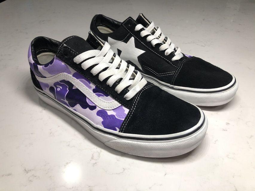 Purple Bape Camo x Old Skool Vans in