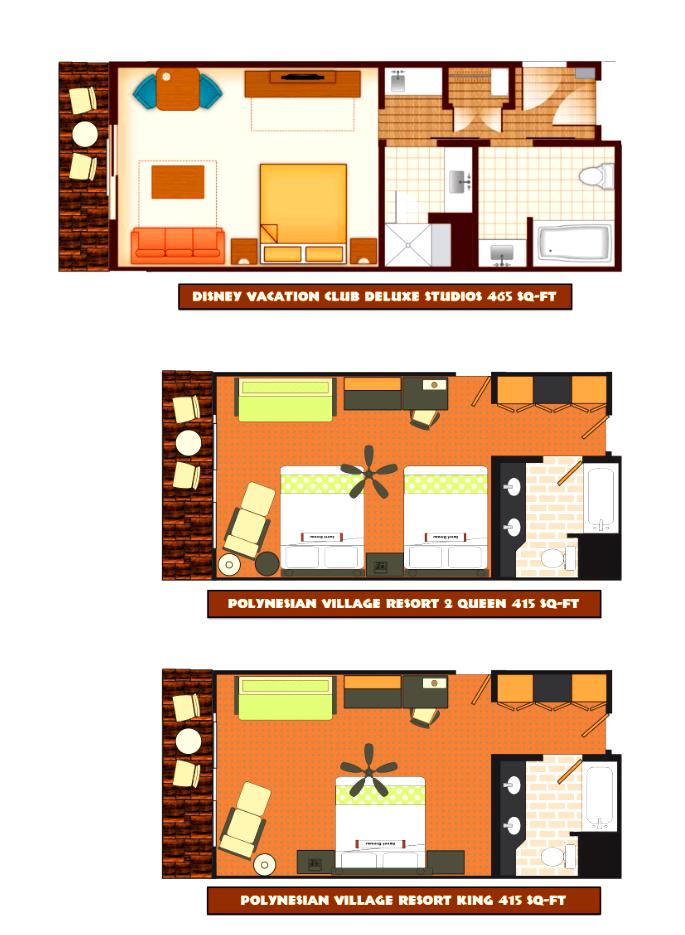 Floor plans for Polynesian rooms | Disney polynesian ...