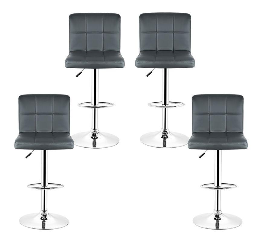 Lot De 4 Tabourets De Bar Rembourree Capitonne En Similicuir Dossier Et Repose Pieds Ajustables Gris Cw62978m Home Decor Furniture Chair