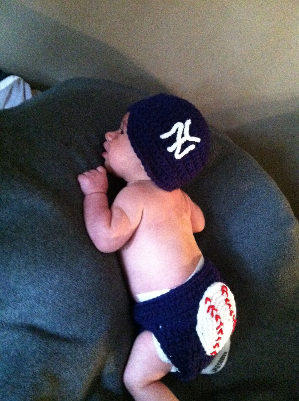Crocheted New York Yankees inspired Baseball Hat and Diaper Cover ... 3d9006c0776