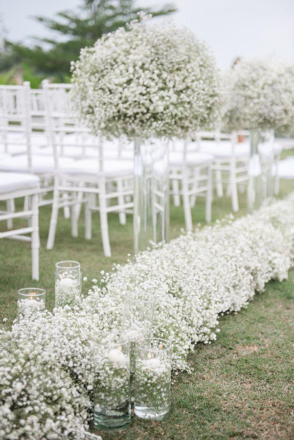 Elegant All Baby S Breath Wedding Strictly Weddings Wedding Aisle Decorations Babys Breath Wedding Wedding Aisle Outdoor