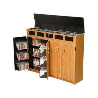 Venture Horizon Home Indoor Top Load Media Cabinet Oak Brown