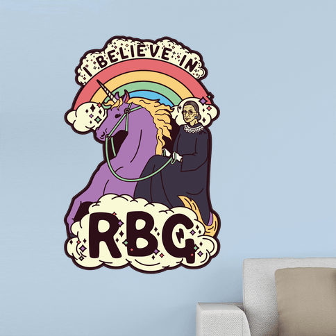 Ruth Bader Ginsburg on a Unicorn - This beautiful unicorn wall decal features an illustration of Supreme Court Justice Ruth Bader Ginsburg riding on the back of her magical steed. Show your love for the Notorious RGB and all she stands for with this fun piece of Ruth Bader Ginsburg art.