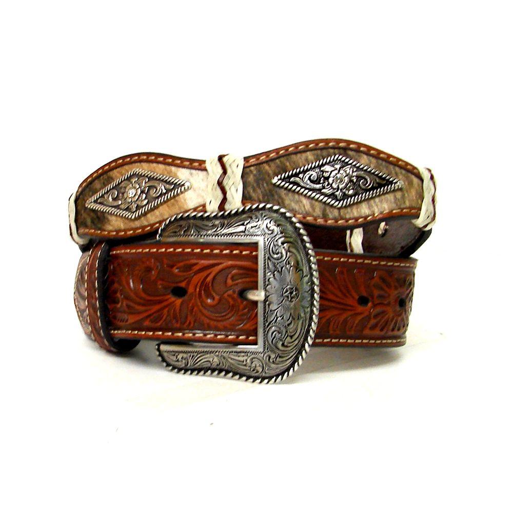 Nocona Mens Pro Black Diamond Scalloped Belt