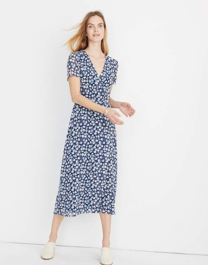 312c8dde6c66d Madewell Wrap-Front Midi Dress in French Floral in 2019