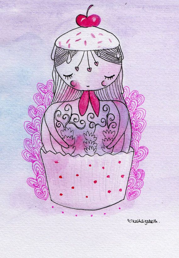 Russian Doll Cupcake Girl Illustration - Watercolour - A5 Print