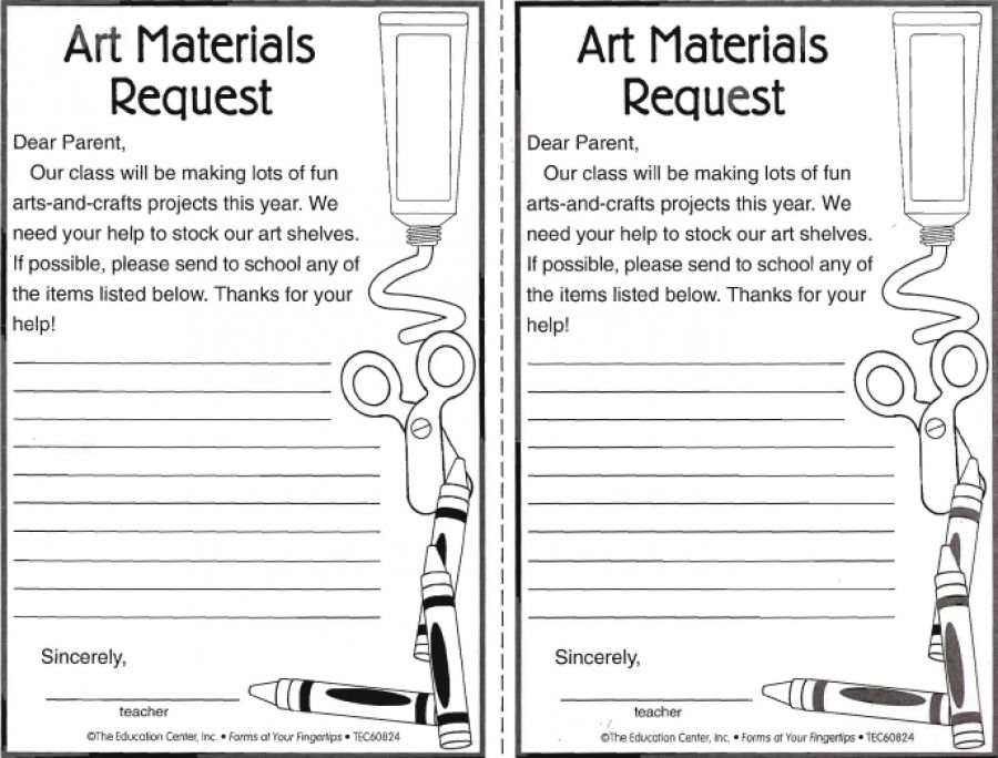 Art Materials Request Form  Art Teacher Tools    Art