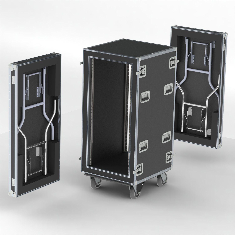 Wilson shock mount rack case where both lids have table legs