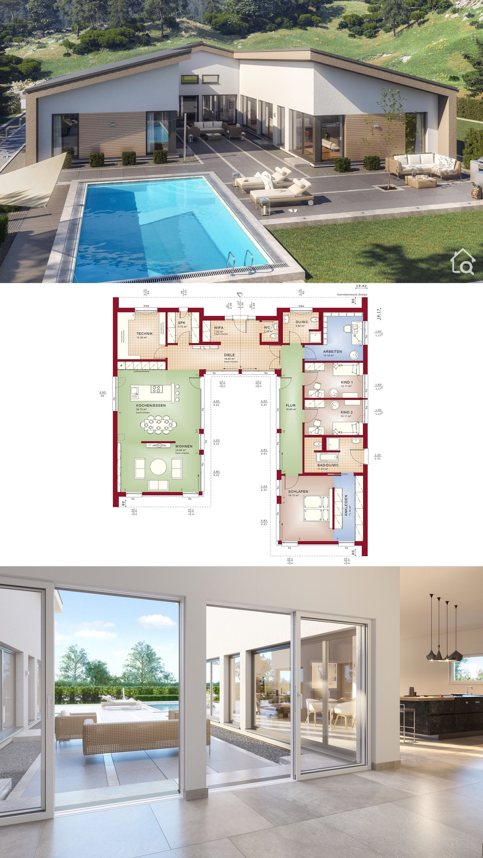 Fertighaus Bungalow modern mit Satteldach & Innenhof bauen Haus Design Ideen Grundriss in UForm