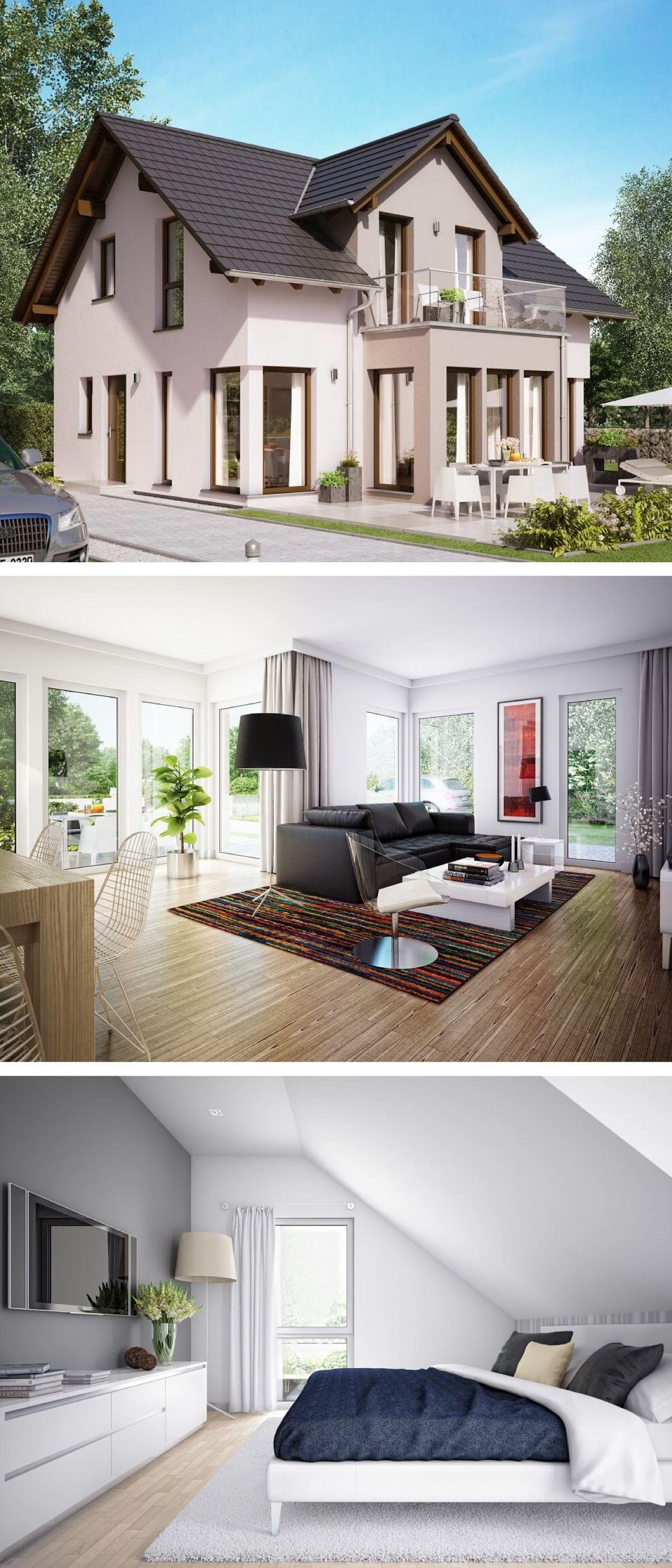 satteldach haus mit zwerchgiebel erker anbau mit balkon einfamilienhaus architektur edition. Black Bedroom Furniture Sets. Home Design Ideas