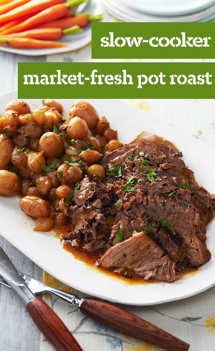 Slow-Cooker Market-Fresh Pot Roast — Why save pot roast for Sunday? Put it in the slow cooker any weekday morning to enjoy this classic meat-and-potatoes dish after a long day's work.