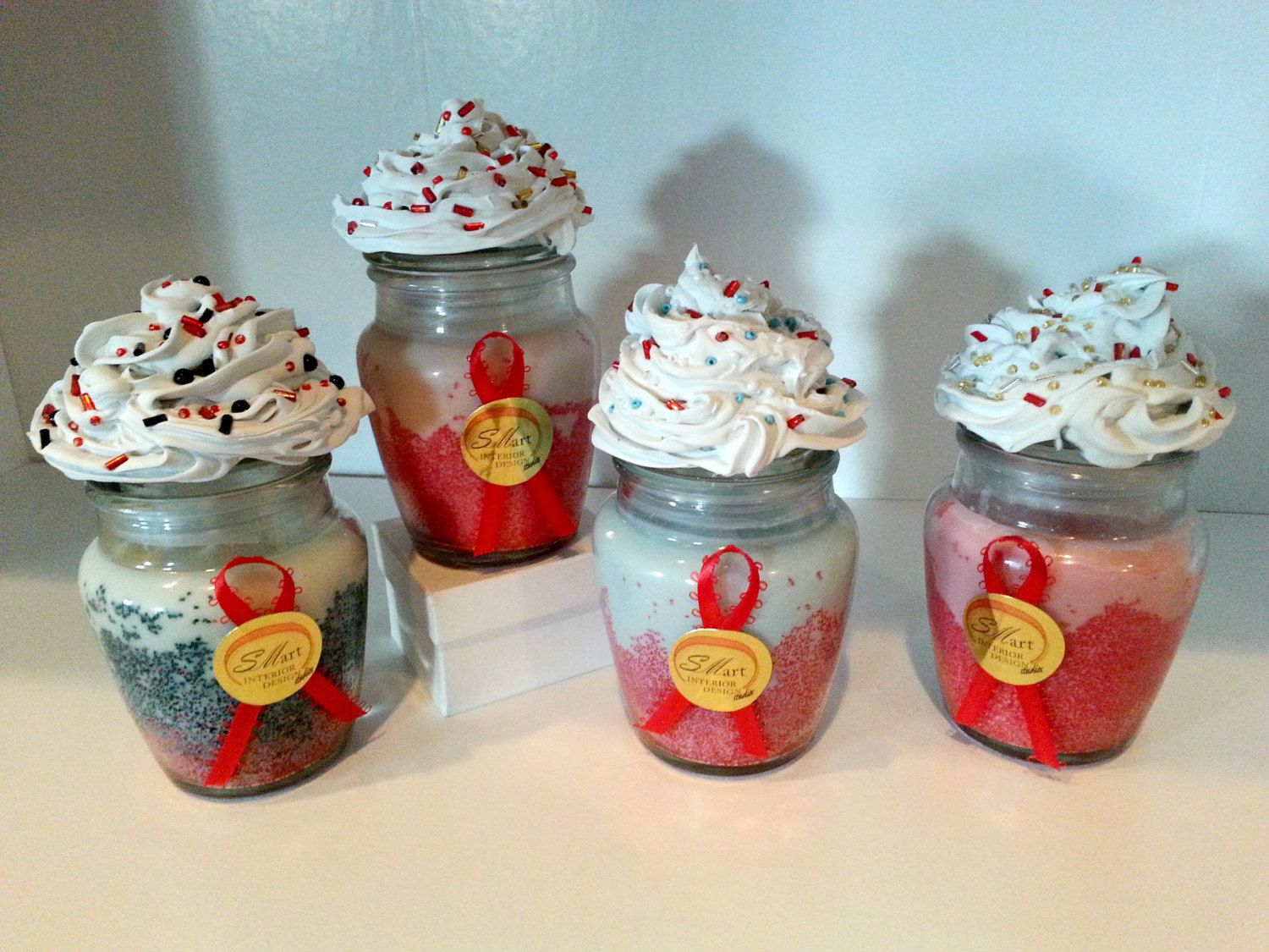 Red and White, Red and Robin Egg Blue, Red and Black, and Red and Pink Soy Cupcake Candles by SIDStudios on Etsy