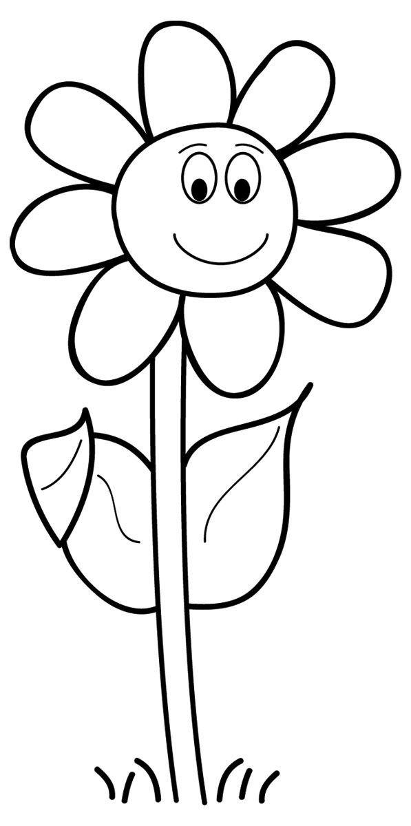 April Clip Art Black And White With Images Cartoon Flowers