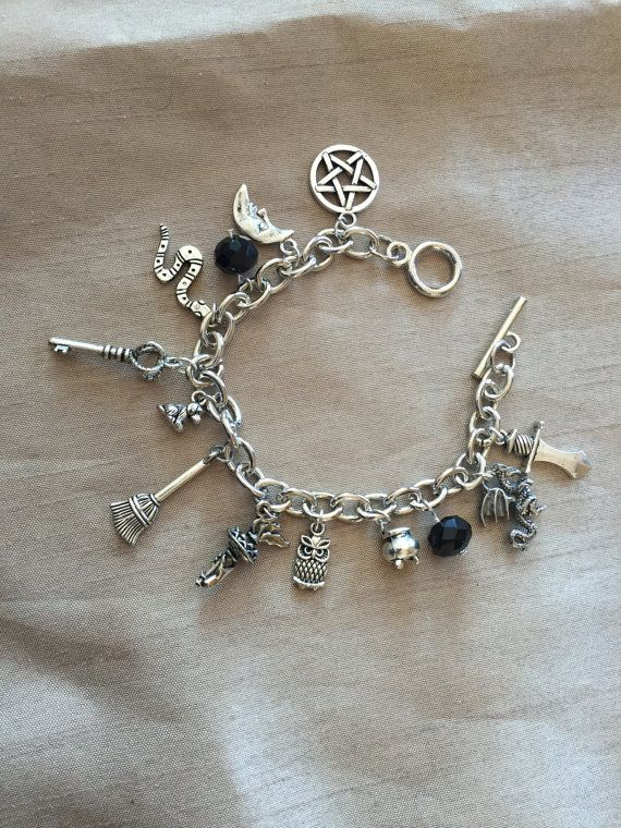 Pagan Charm Bracelet with 41 Charms Pentacle Wicca Jewellery Goddess Witch