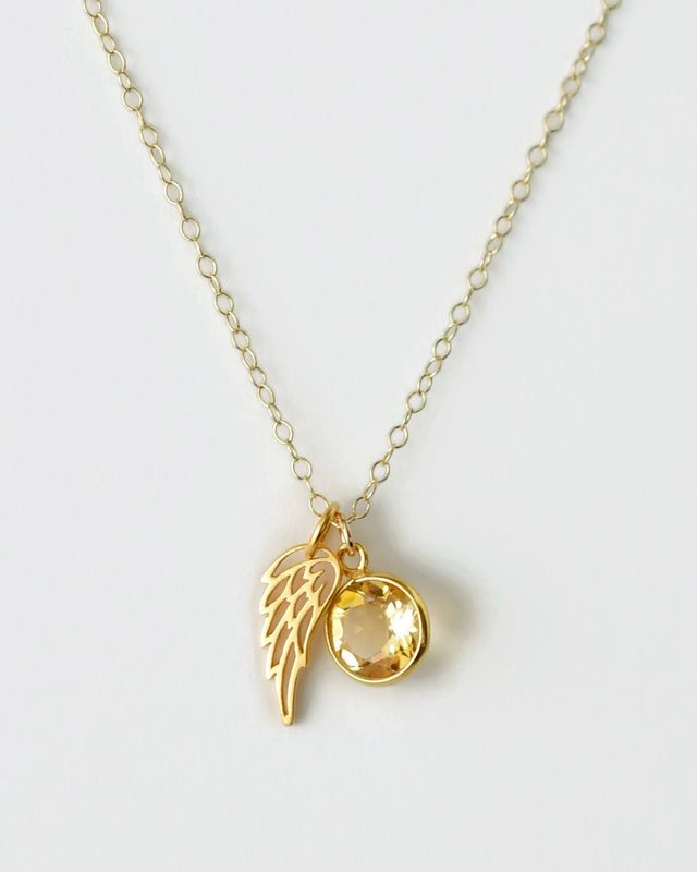 Gold angel wing necklace with novembers birthstone citrine gold angel wing necklace with novembers birthstone citrine miscarriage remembrance condolence gifts sympathy aloadofball Images