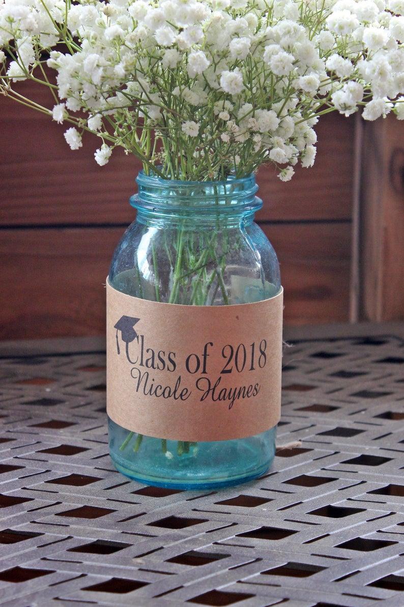 Class of 2020 Graduation Centerpiece / Rustic 2020 Graduation Decor / Graduation Mason Jar Wrap / 2020 Decorations / Class Reuion