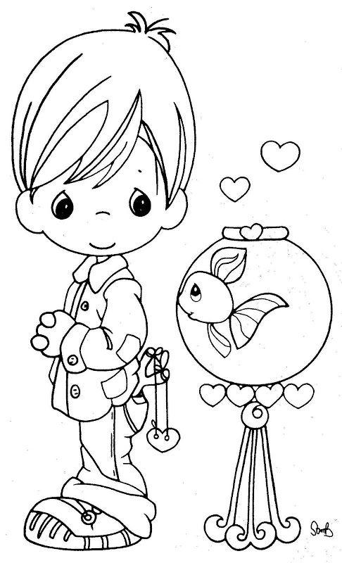 Pinto Dibujos: Precious moments con pececito en pecera para colorear ...