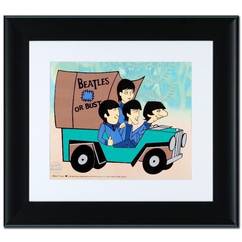 THE BEATLES Animation Cartoon Sericel Cel Framed Paul McCartney John ...