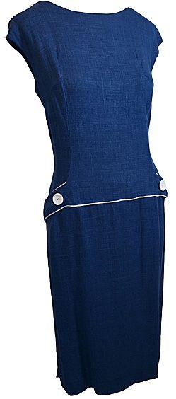 1960s clothing >dresses 60s Continental Blue Linen Dress (UK14-16)