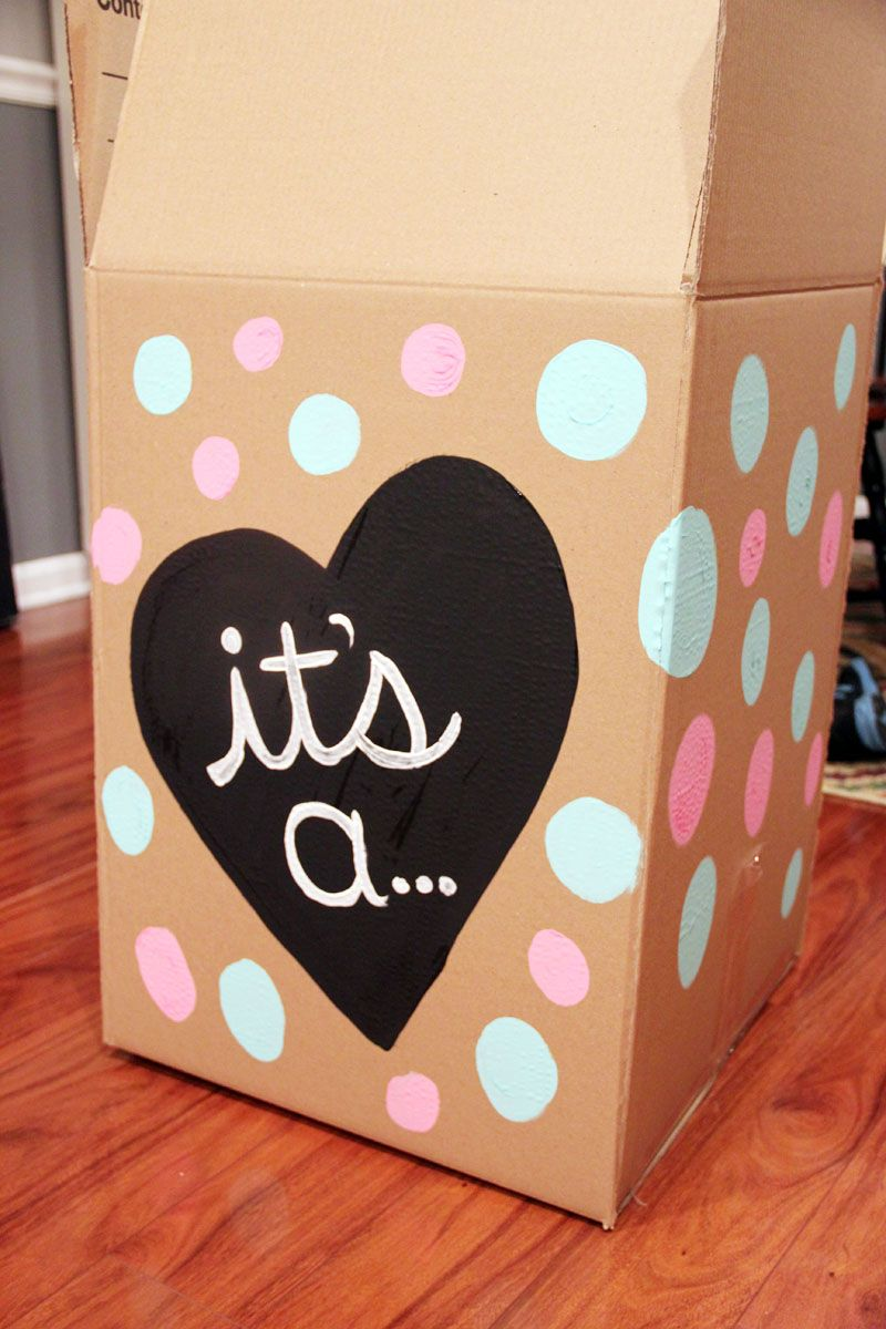 Pink And Blue Gender Reveal DIY Painted Party Balloon Box For