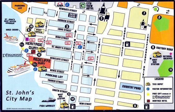 St Johns Antigua cruise port map printable Cruising