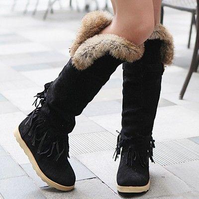 Knee High Boots Women Winter Snow Wedges Fur Lined Warm Platform Tassel Suede La