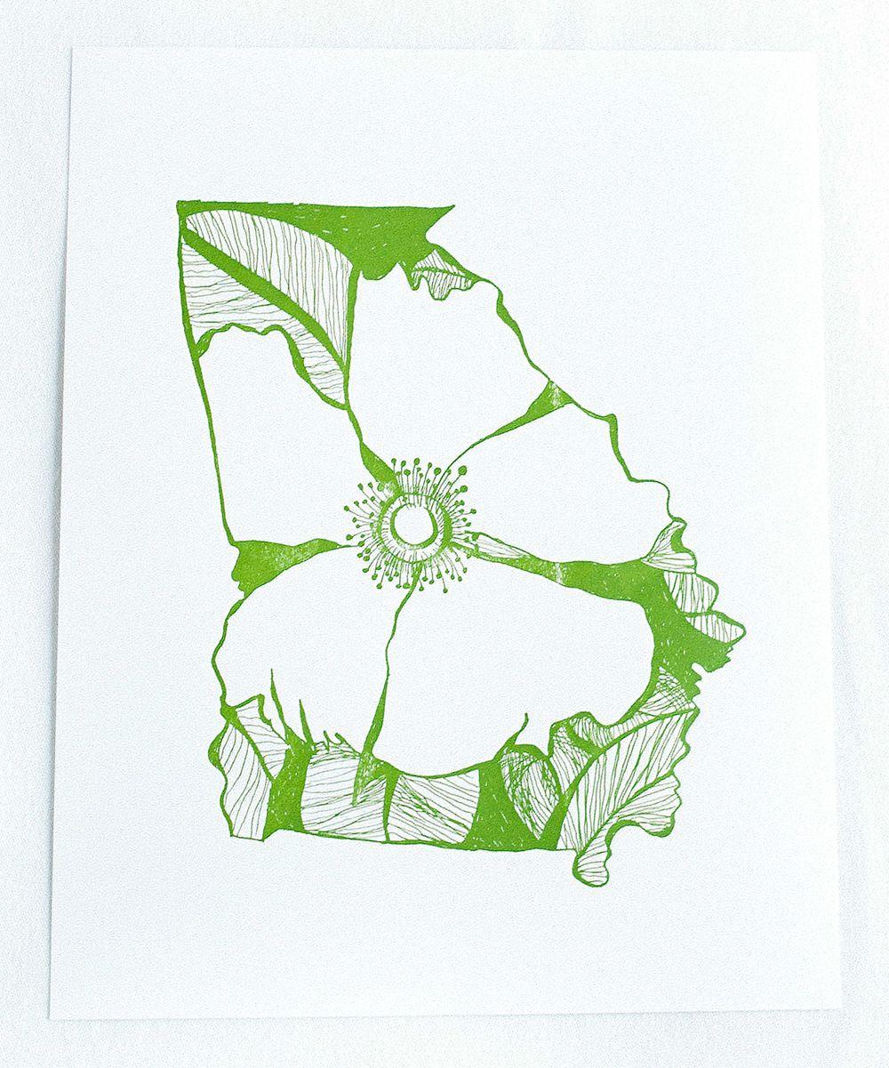Georgia Cherokee Rose State Flower Letterpress Print | zulily
