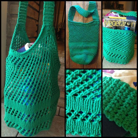 Knitted Shopping Bag Pattern : Knit tote bag using Lily Sugar n Cream cotton yarn in Mod Green. This kn...