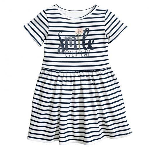 384cdf38b Girls Print Smile Stripes Dress   Kidshoo   Dresses, Fashion, Black kids