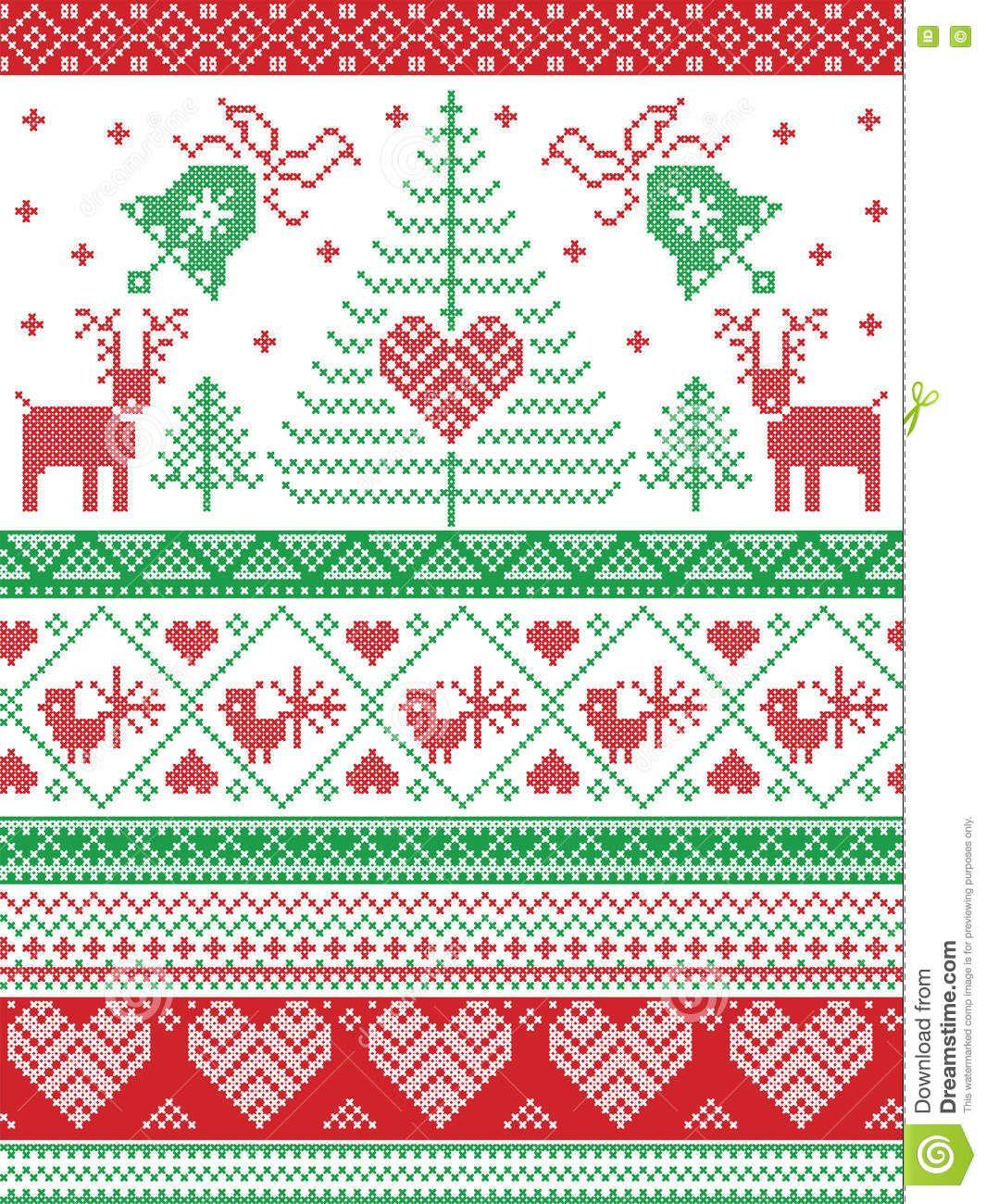 Scandinavian Style And Nordic Culture Inspired Christmas Festive Winter Seamless Pattern Scandinavian Cross Stitch Cross Stitch Stocking Russian Cross Stitch