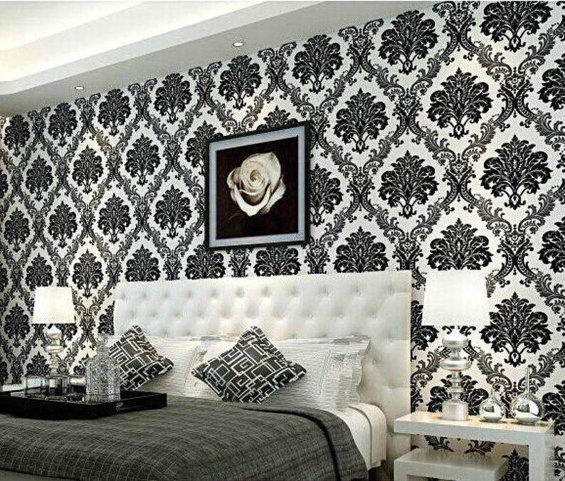 Modern Damask Black White Pattern Wallpaper Textured Etsy In 2020 Wallpaper Design For Bedroom Wallpaper Bedroom White Pattern Wallpaper