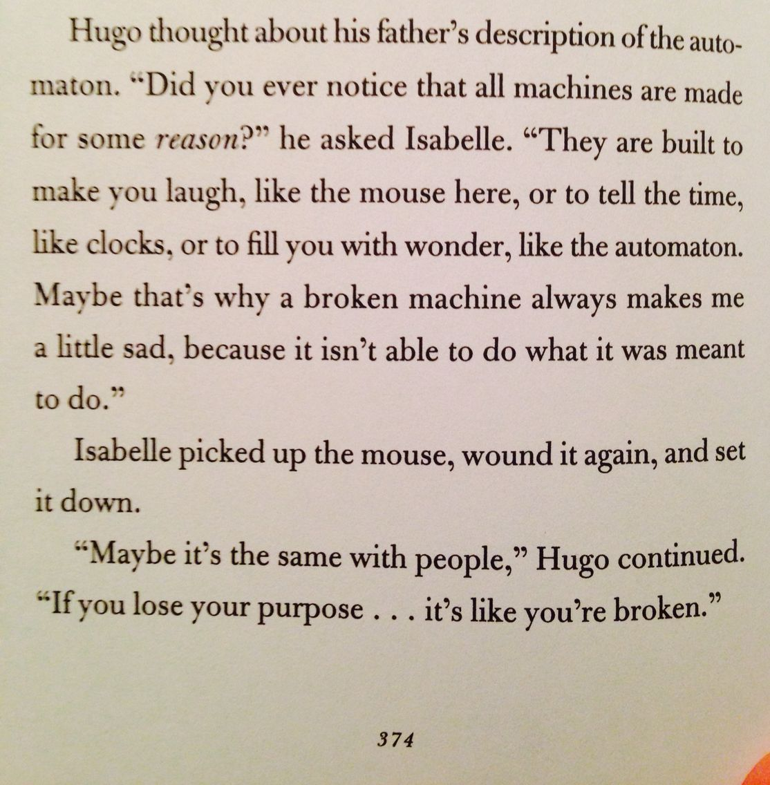 Purpose Quote From The Invention Of Hugo Cabret By Brian