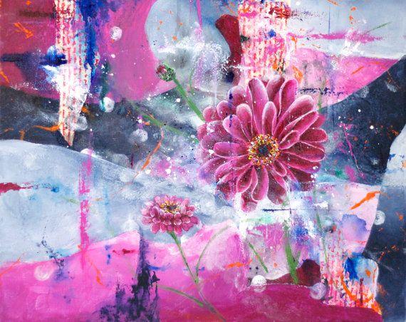 Abstract Floral Wall Art, Flower Art Print, Pink Daisy Print, Living ...