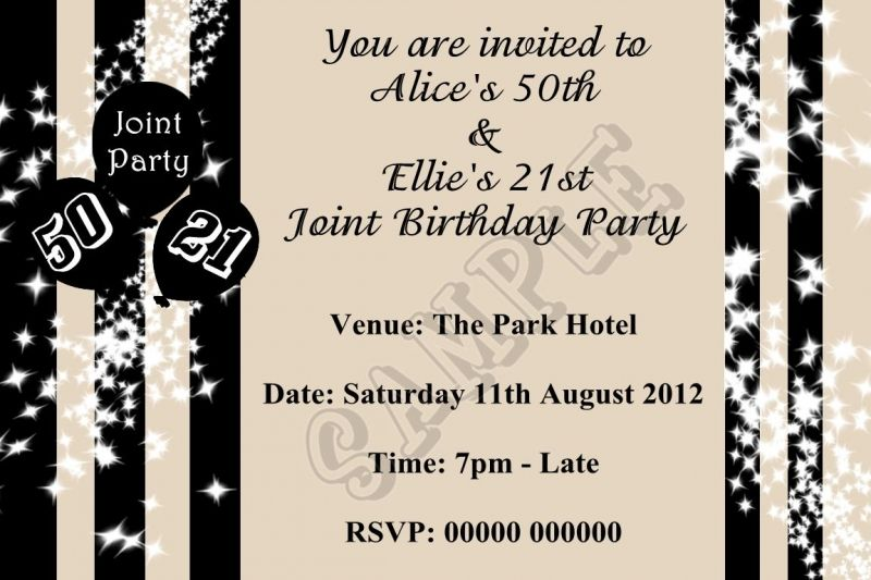 Printable Joint Birthday Party Invitations ~ Joint birthday party invitations for adults invitation card sample pinterest