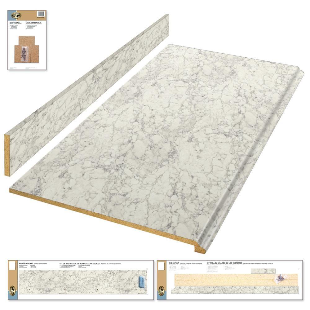 Hampton Bay 8 Ft Laminate Countertop Kit In Marmo Bianco Marble