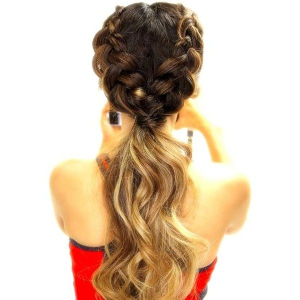 17 Chic Double Braided Hairstyles You Will Love ❤ liked on Polyvore featuring beauty products, haircare, hair styling tools, hair, hair styles and hairstyles