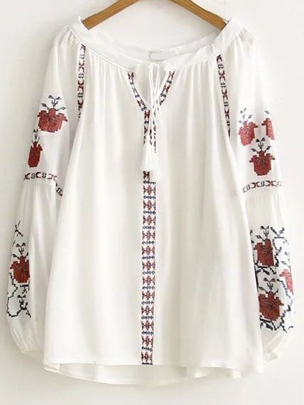 Shop White Embroidery Tassel Tie Lantern Sleeve Blouse online. SheIn offers White Embroidery Tassel Tie Lantern Sleeve Blouse & more to fit your fashionable needs. #whiteembroidery