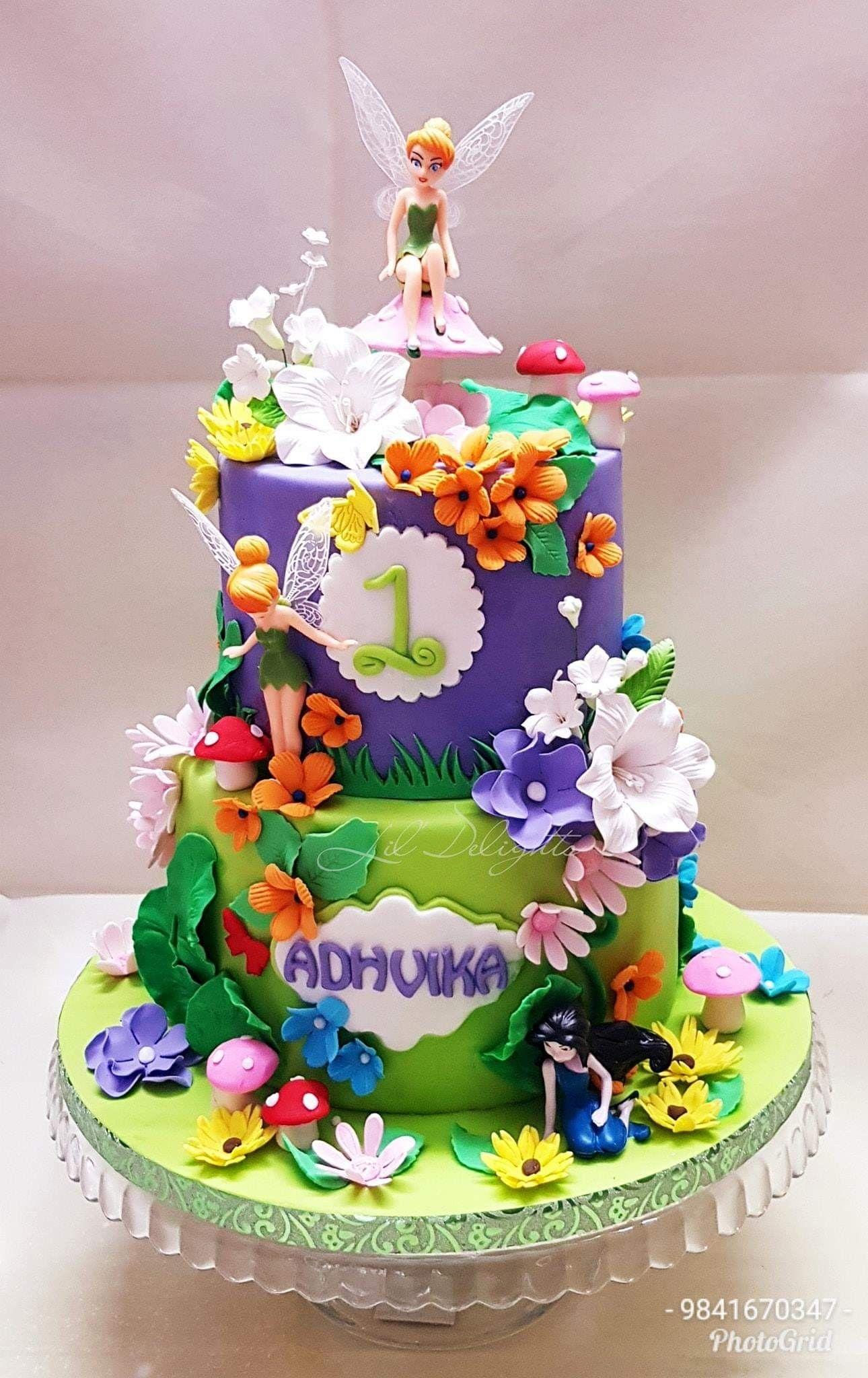 Tinker Bell Cake Fairy Theme Cake A Fairy Cake For Lil Adhvika For Her 1st Birthday A Cak Tinkerbell Cake Tinkerbell Birthday Cakes Fairy Birthday Cake
