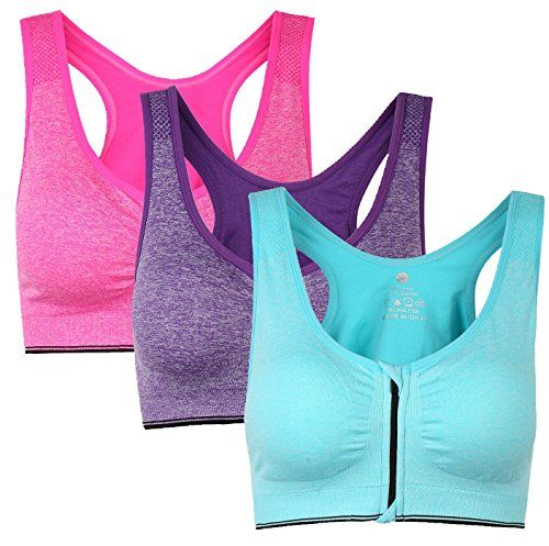 4c875abf03 Womens Zip Front Padded Sports Bra Racerback Yoga bras for Women with  Headband Set Pack of 3 L -- You can find more details by visiting the image  link.