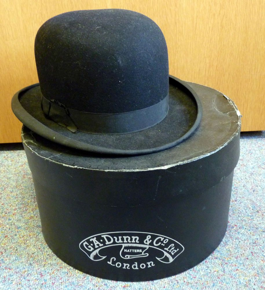 Vintage G.A. Dunn Black Bowler Hat in Dunn Box  3a000179cd64