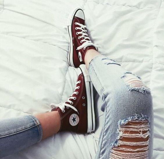 Womens Maroon Jeans