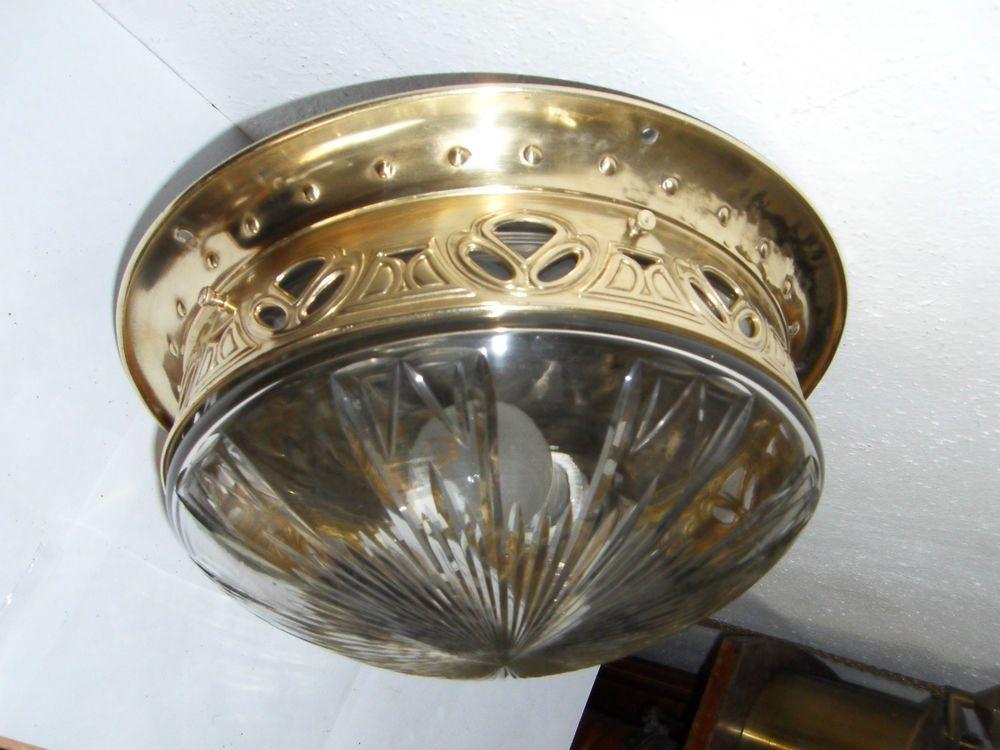 Deckenlampe Jugendstil Plafoniere : Details zu lampe jugendstil art nouveau kristallglas alte