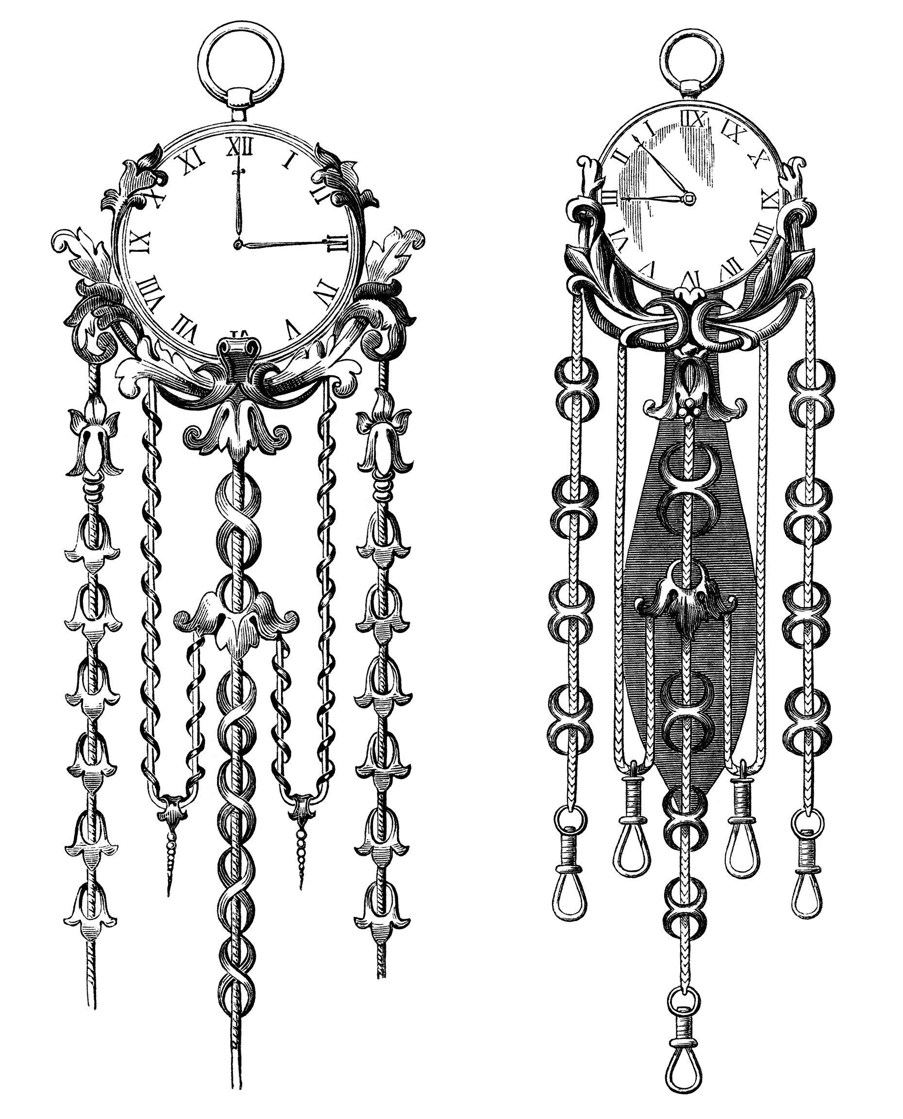 Victorian clock illustration, vintage clock clip art, black
