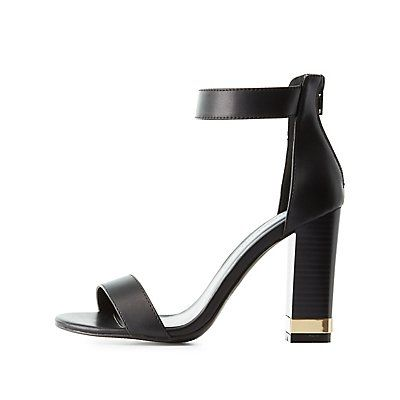 a3adbd69ca4d Black Two-Piece Chunky Heel Sandals by Wild Diva Lounge - Size 7 ...