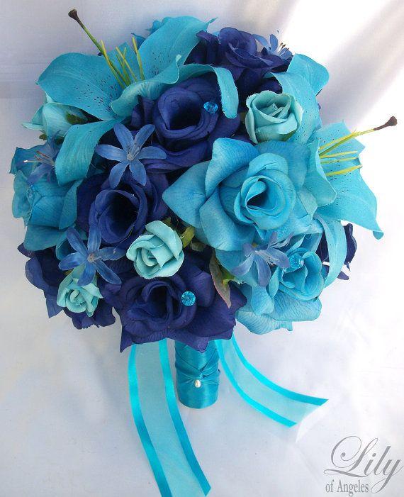 17pcs Wedding Bridal Bouquet Flower Decoration Bride Package TURQUOISE BLUE LILY