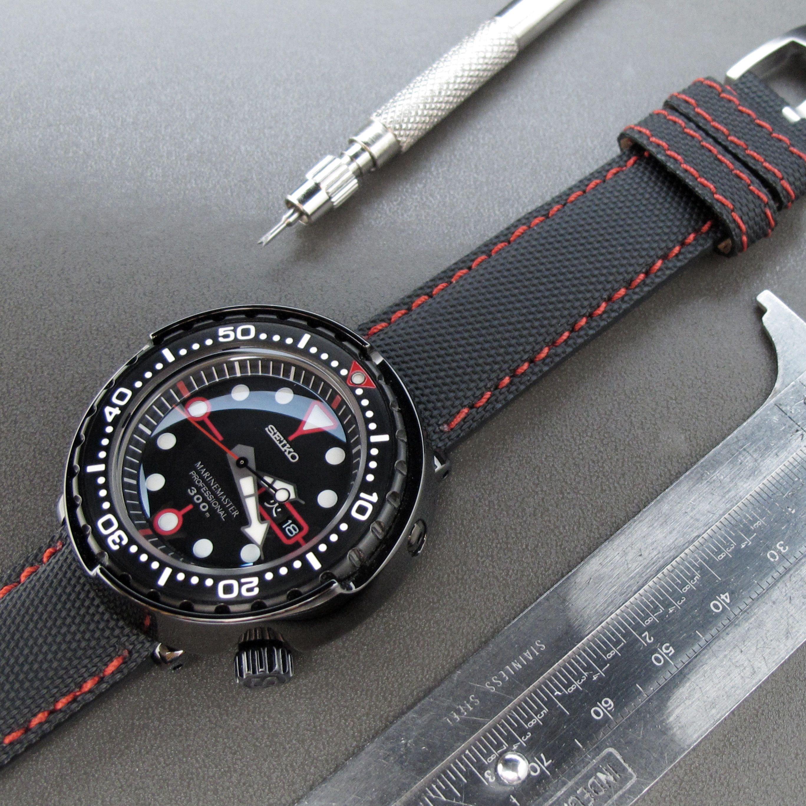 22mm Miltat Kevlar Watch Strap In Red