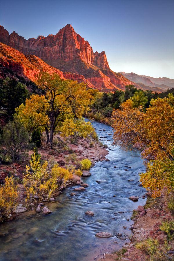 Virgin River Sunset, Zion National Park, Utah by Greg Clure