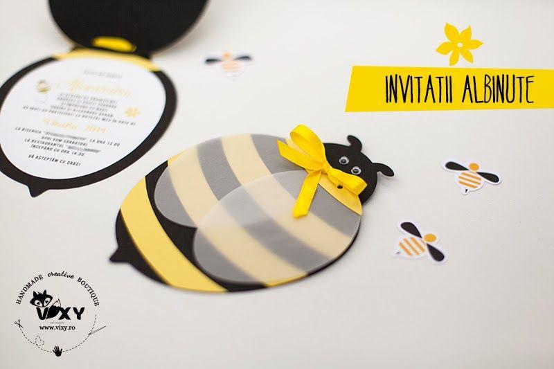 Invitatii Botez Albinute Invitatie Albinuta Invitatii Handmade