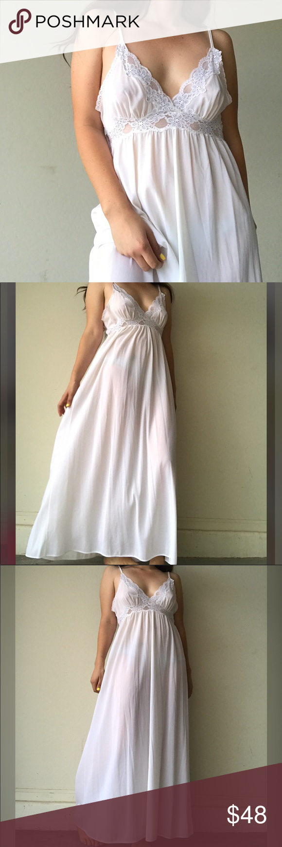 "Vintage white long Nightie Beautiful and dainty Nightie with lace details. In great condition. More details coming soon. Shown on a medium and will also fit a large. I'm 5'5"" for reference and 36 A CUP Vintage Intimates & Sleepwear Chemises & Slips"
